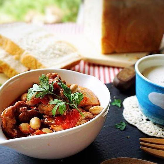 酒粕酵母でシンプル山食✿チキンのトマト煮&白インゲンのスープ