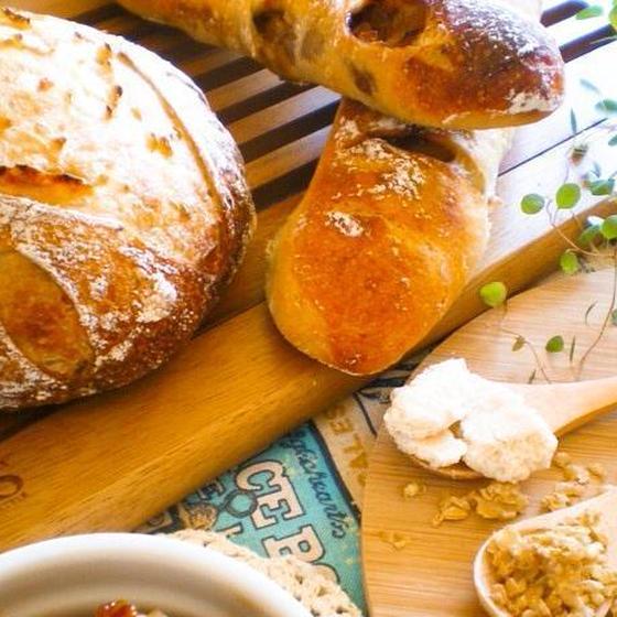 発芽玄米酒と濁酒✿2種の酒粕酵母で田舎パン&林檎スティック