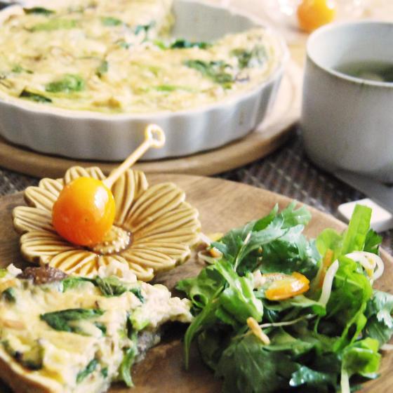 お豆腐キッシュで和カフェランチ。旬の金柑で風邪予防!