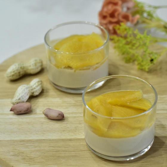 11月柿とピーナッツバターの豆乳ブラマンジェ