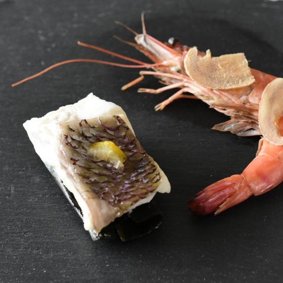真鯛の昆布締め&生姜海老の蒸しもの(レシピのみ予定)