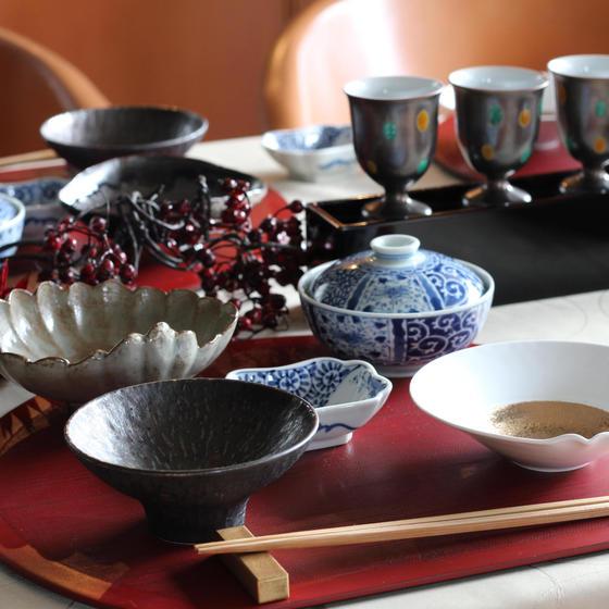 秋のは卵味噌・洋ナシと魚煮物・海老レンコン焼・カブでお月見