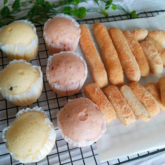 簡単で美味しいおやつ 蒸しパン2種(甘酒甘納豆・練乳いちご)