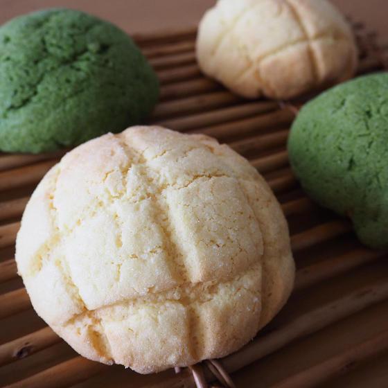 ざくざくクッキー生地のメロンパン(プレーン2個抹茶2個)
