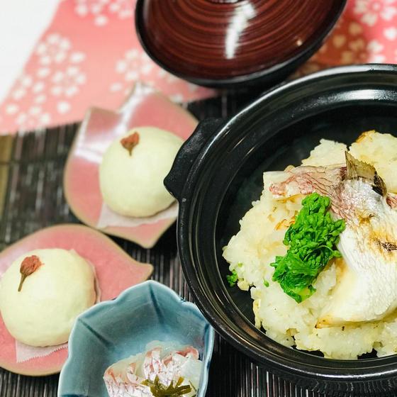 桜咲く✿鯛おこわ・鯛昆布ジメ・貝の潮汁・桜饅頭