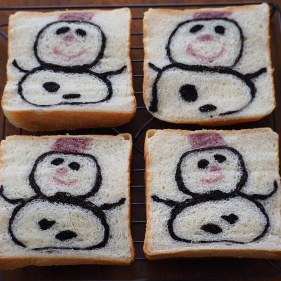 【オンラインレッスン】雪だるまの食パン