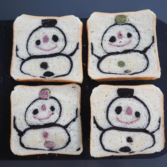 【オンラインレッスン】雪だるまの食パン(ピンク)