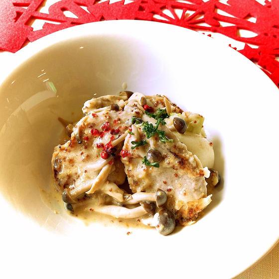 豚ヒレ肉のマスタードクリーム煮