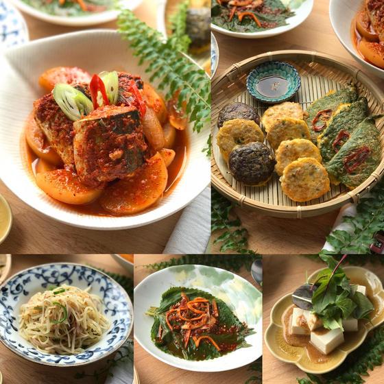 韓国健康食卓! さばの煮物、三種ジョン、エゴマの葉っぱキムチ