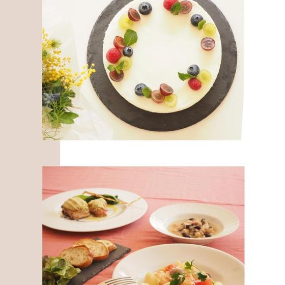 よくばりもてなし料理Bとお菓子 魚介のパスタ&レアチーズケー