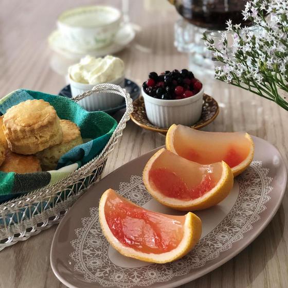 7月のお菓子:スコーン&グレープフルーツのゼリー