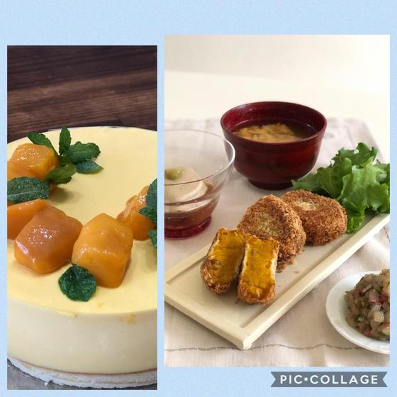 よくばり料理基礎B かぼちゃコロッケ胡麻豆腐 マンゴームース
