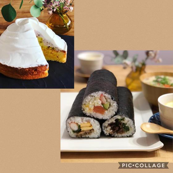 よくばり・巻き寿司とタルト