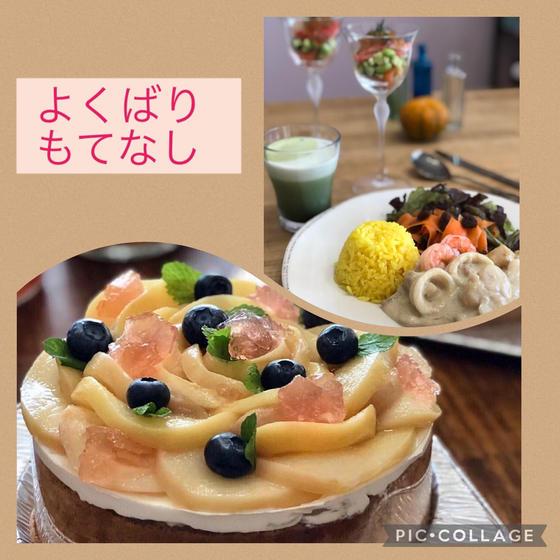 よくばり・白いカレーと桃のケーキ