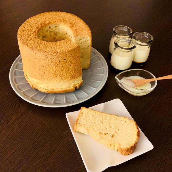 【ケーキ】メープルシフォンケーキ&なめらかプリン