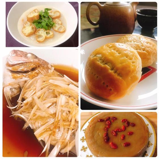 ワイフケーキ、蒸魚、新年餅、鶏肉粥レッスン