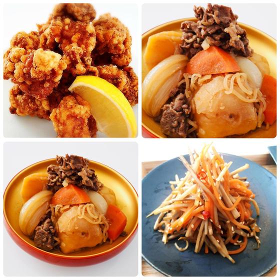 定番和食:カリカリ唐揚げ、ほっくり肉じゃが、きんぴらごぼう