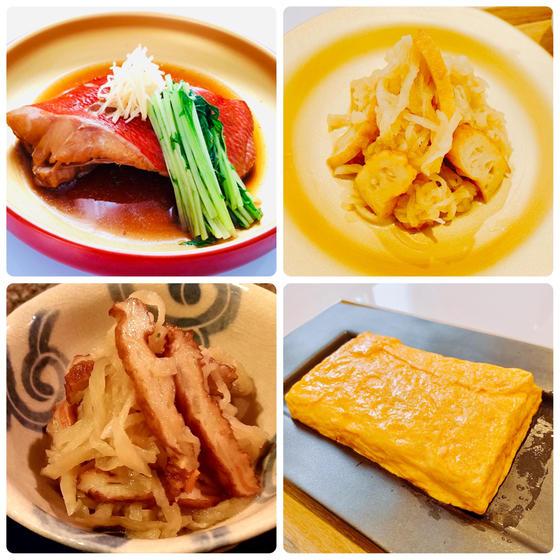 冬和食:①金目鯛の煮付②切干大根の煮物③オマケ:だし巻き卵