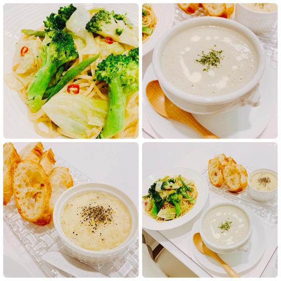 冬洋食:①鱈のブランダード②ごぼうポタージュ③緑野菜パスタ