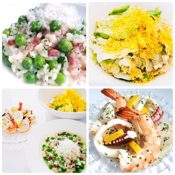 春洋食:グリンピースリゾット、シーフードマリネ、ミモザサラダ
