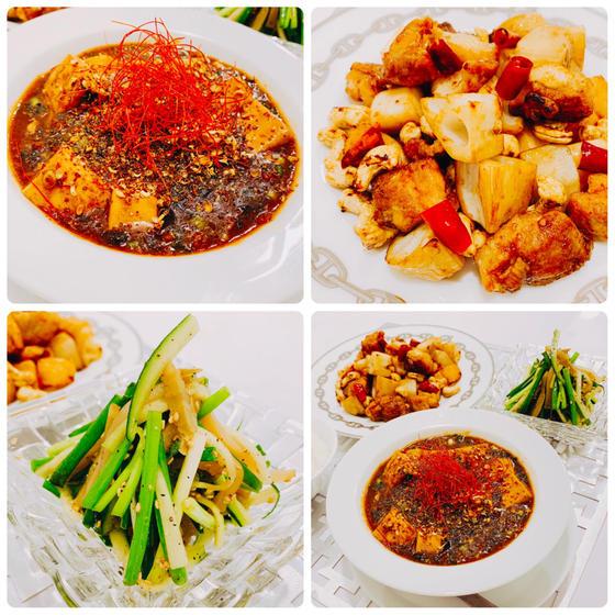 定番中華:四川麻婆豆腐、鶏肉カシューナッツ炒め、ネギザーサイ