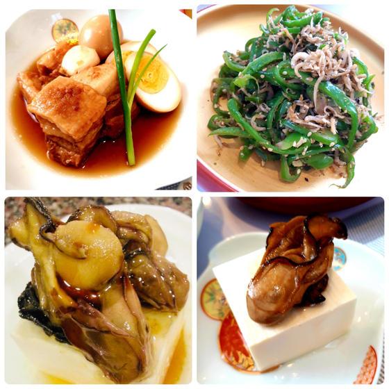 冬和食:①魔法の豚の角煮②しらすピーマン③牡蠣オイル漬け