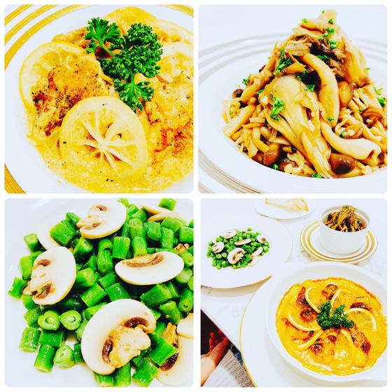 冬洋食:鶏レモンクリーム煮、キノコバルサミコ、いんげんサラダ