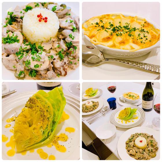 冬洋食:ビーフストロガノフ、ミルクグラタン、レタスサラダ