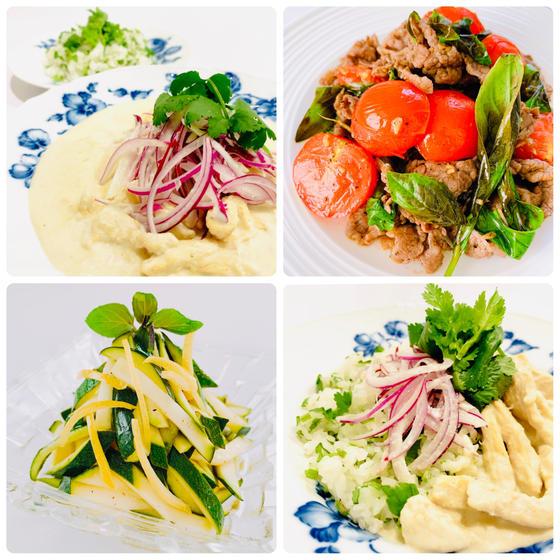 春洋食:ナッツコルマカレー、牛肉トマトバジル炒、ズッキーニS