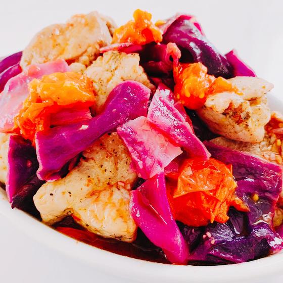 春洋食レッスン:紫キャベツと豚肉のアクアパッツァ