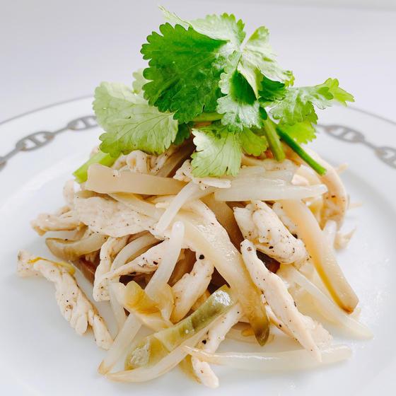 【ダイエット中華】鶏胸肉ザーサイ塩炒め、豆腐干絲塩和え、他