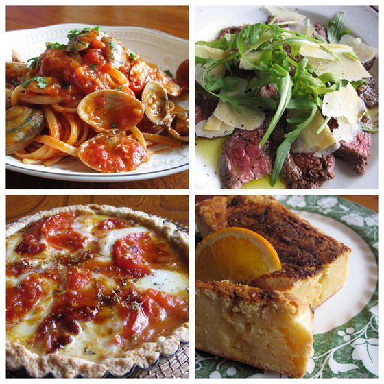 ボンゴレロッソ、タリアータ、カラメルトマトのタルト、オレンジ