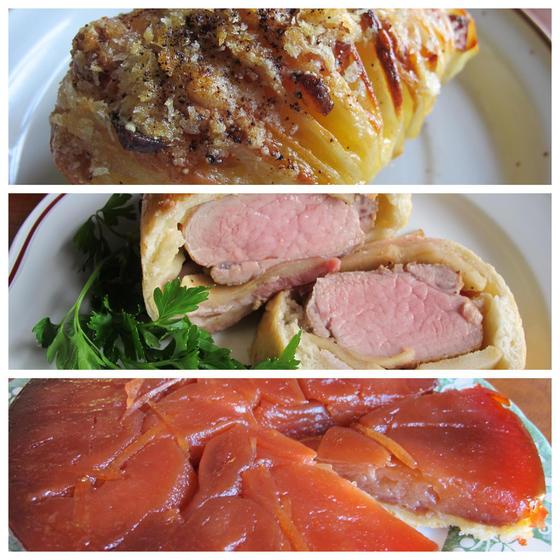 ジャガイモスフォリアテッレ、豚ヒレパン包み焼き、タルトタタン