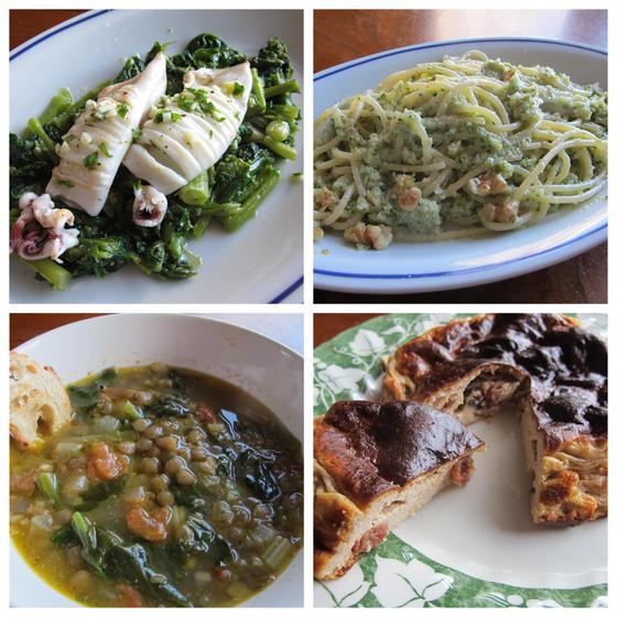 ヤリイカ菜の花ソース、ブロッコリーパスタ、レンズ豆スープ他