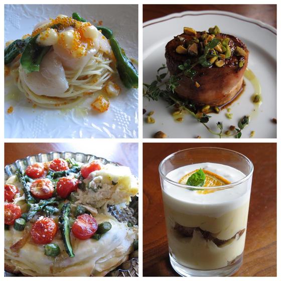 ホタテ冷製パスタ、豚ヒレベーコン巻き、野菜タルト、ティラミス