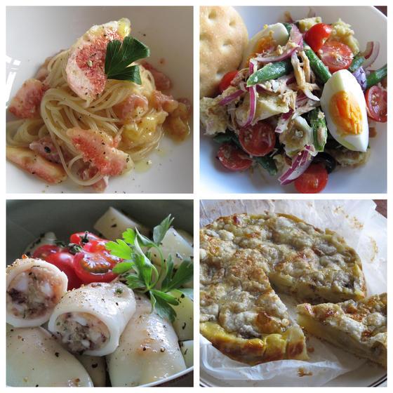 いちじく冷製パスタ、イカリピエニ、カッポナッダ、バナナタルト