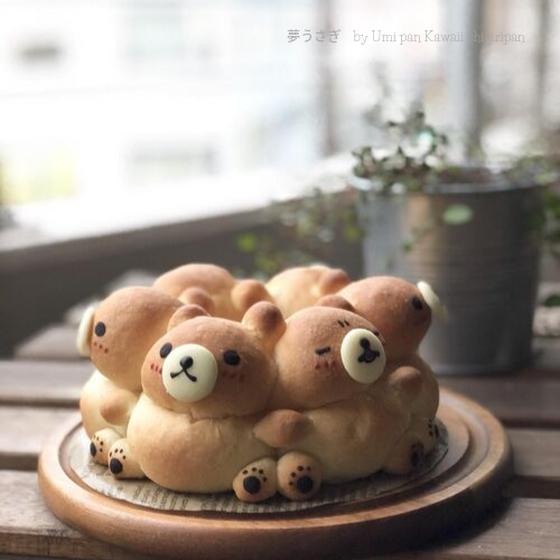 こんがりくまさんの3Dちぎりパン