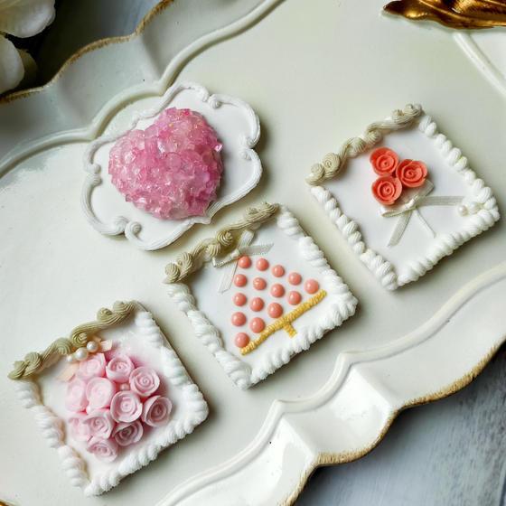 ローズの絵画風アイシングクッキー(バラ絞り付)