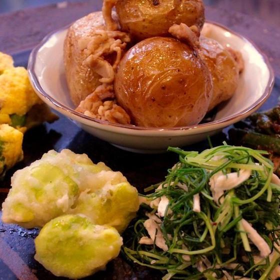 春野菜基本と応用8品 おかひじき、そら豆、あさりの卵焼き