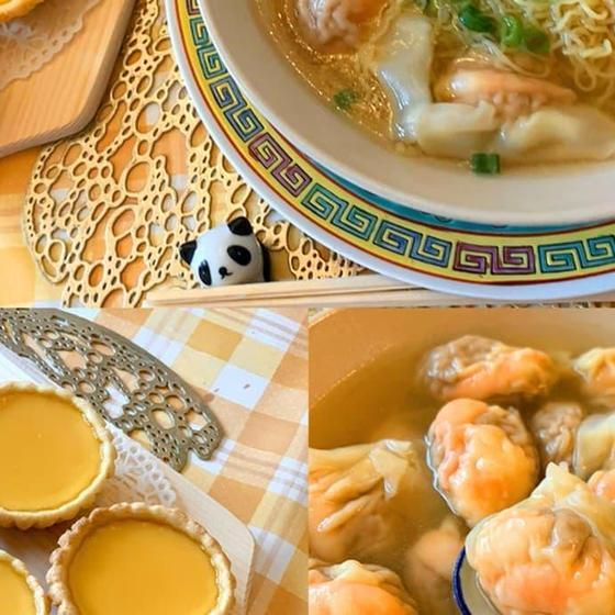 香港定番グルメ海老ワンタン麺とエッグタルトコース