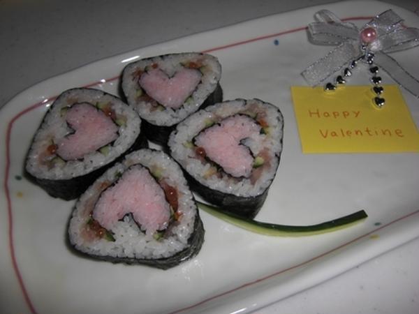 バレンタイン向けに。 「ハート」の飾り巻き寿司。