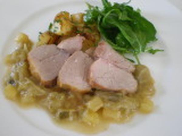 L.Y.B豚腿肉のブレゼ リュバーブ、蜂蜜、生姜風味