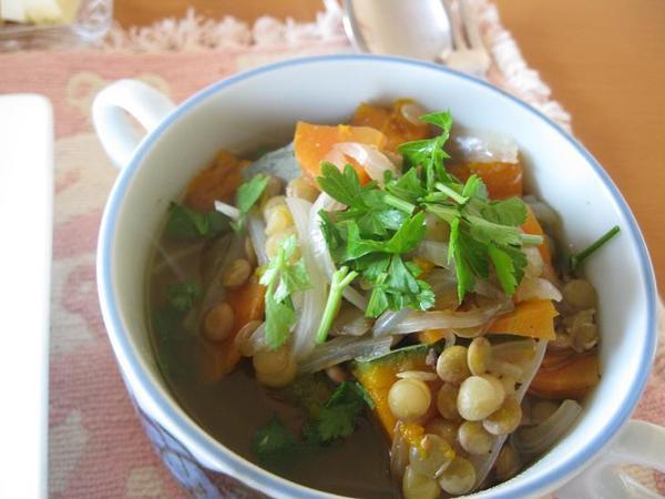 レンズ豆と旬野菜のスープ