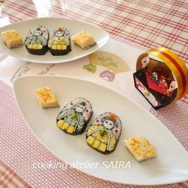ひな祭りには、おひな様の飾り巻き寿司を♪