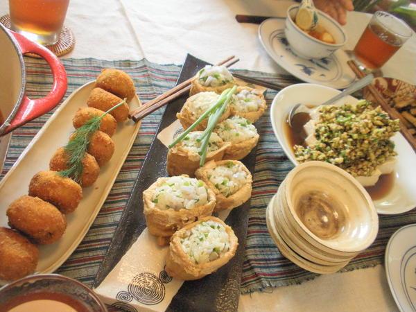 ハーブお稲荷さんとだし豆腐(おウチ料理)