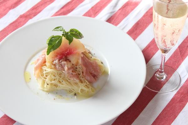 <前菜> ももと生ハムの冷製カッペリーニ