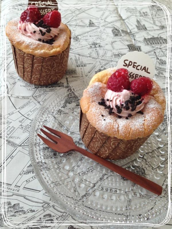 ラズベリーレアチーズカップケーキ