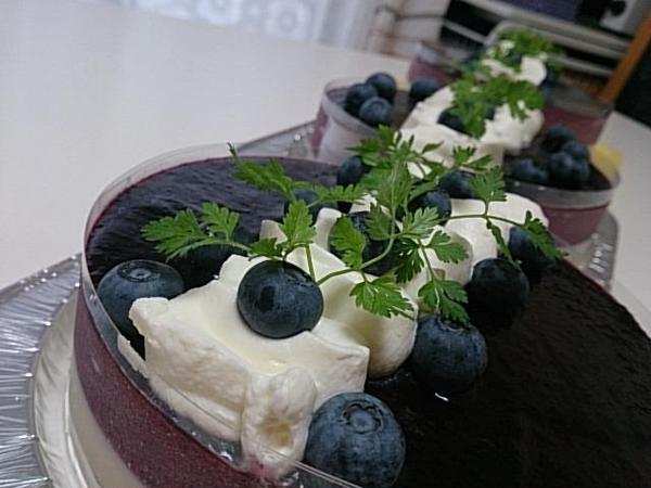 冷菓M「ブルーベリー&ヨーグルトムース」7月コースレッスン♪