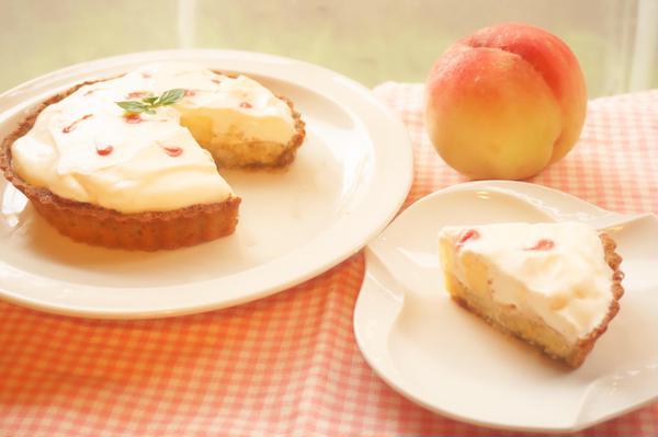 8月のレッスン糖質量が1/10!「桃のタルト」