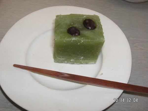 和菓子教室しょうずで作りましたお抹茶のういろうです。